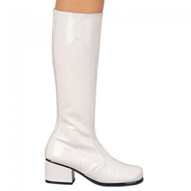 bílé latexové kozačky Gogo-w - Velikost 36