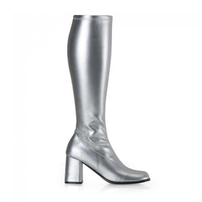stříbrné dámské kozačky Gogo-300SPU - Velikost 35