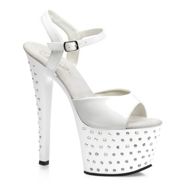 bílé vysoké sandále STARDUST-709-W - Velikost 41