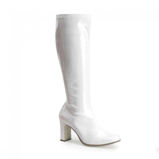 latexové bílé kozačky Kiki-350-W - Velikost 37