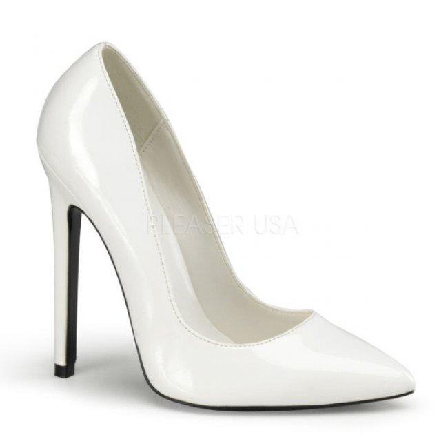 bílé lodičky na vysokém podpatku Sexy-20-w - Velikost 43