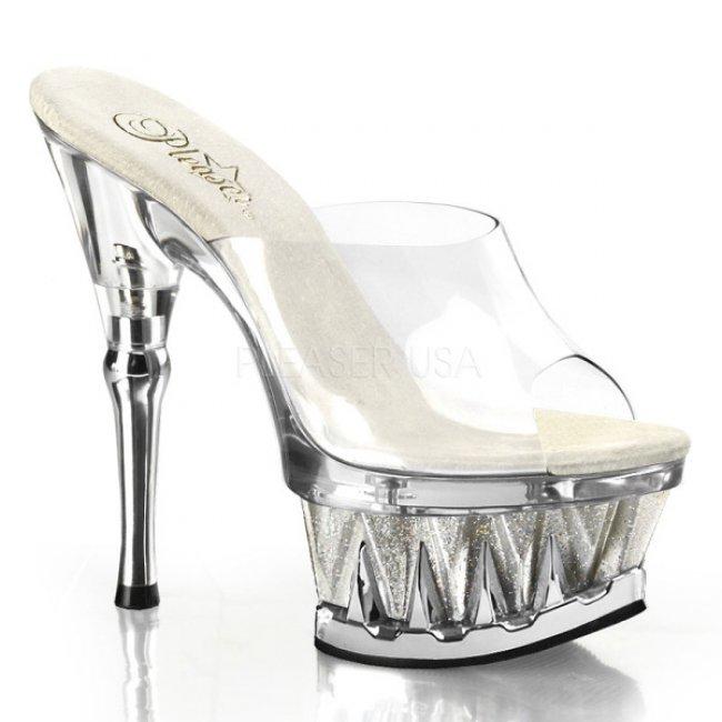 stříbrné pantofle na platformě Spiky-601mg-csg - Velikost 41