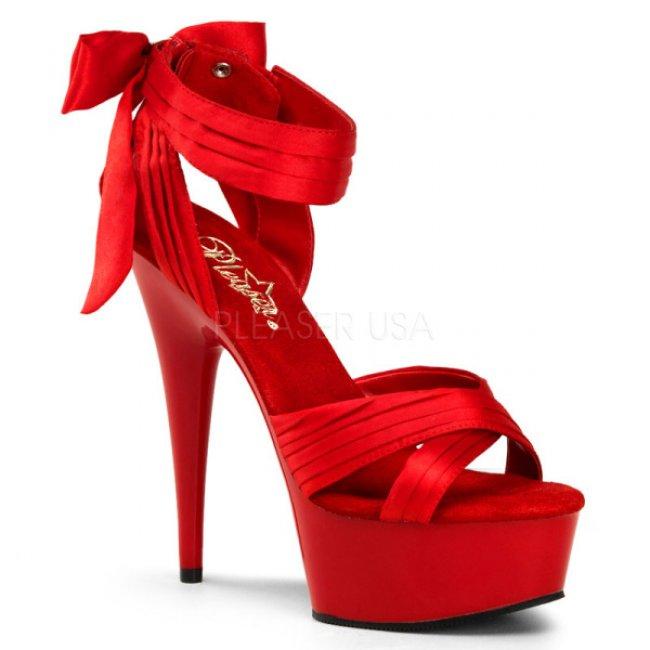 červené saténové sandály Delight-668-rsa - Velikost 35
