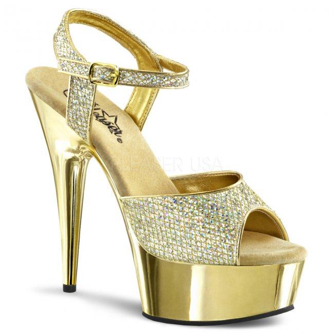zlaté sandály na podpatku Delight-609g-g - Velikost 43