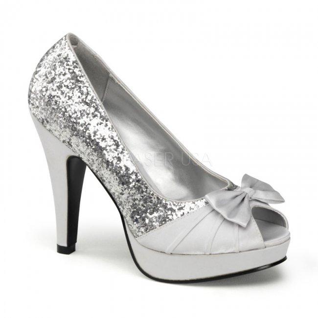 stříbrné dámské lodičky Bettie-10-sgsa - Velikost 36