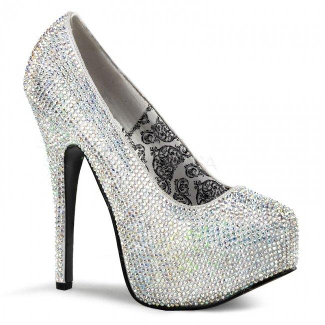 stříbrné vysoké luxusní lodičky Teeze-06r-ssa - Velikost 39