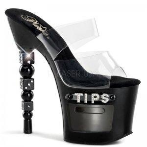 dvoupáskové pantofle na podpatku s kostkami Dice-702-2-cb