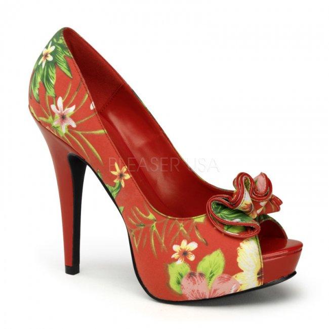 červené květované lodičky s otevřenou špičkou Lolita-11-rfp - Velikost 35