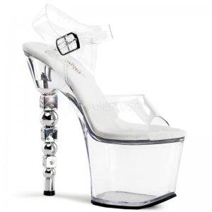 průhledné sandále na podpatku s kostkami Dice-708-c