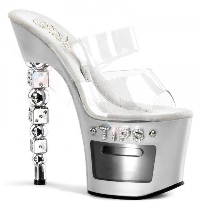 dvoupáskové pantofle na podpatku s kostkami Dice-702-2-cs - Velikost 42