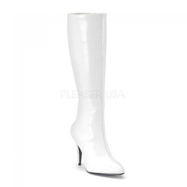 bílé dámské kozačky s prodlouženou špičkou Lust-2000-W - Velikost 36