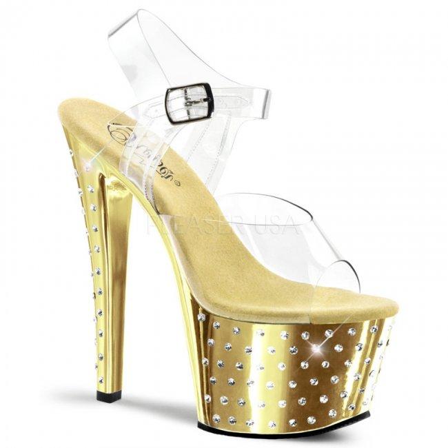 vysoké sandály s kamínky Stardust-708-cgch - Velikost 40