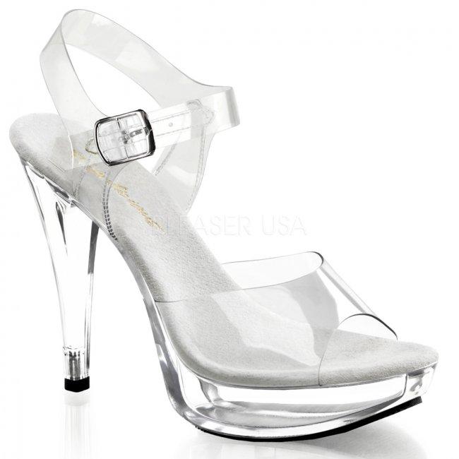dámské průhledné sandály na podpatku Cocktail-508-c - Velikost 36