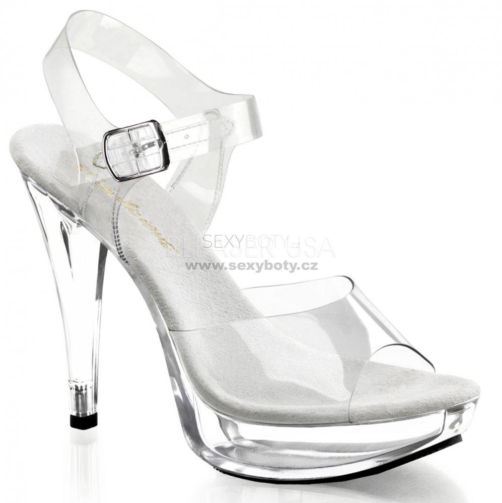 dámské průhledné sandály na podpatku Cocktail-508-c - Velikost 44 ... 15ad9cbe4e