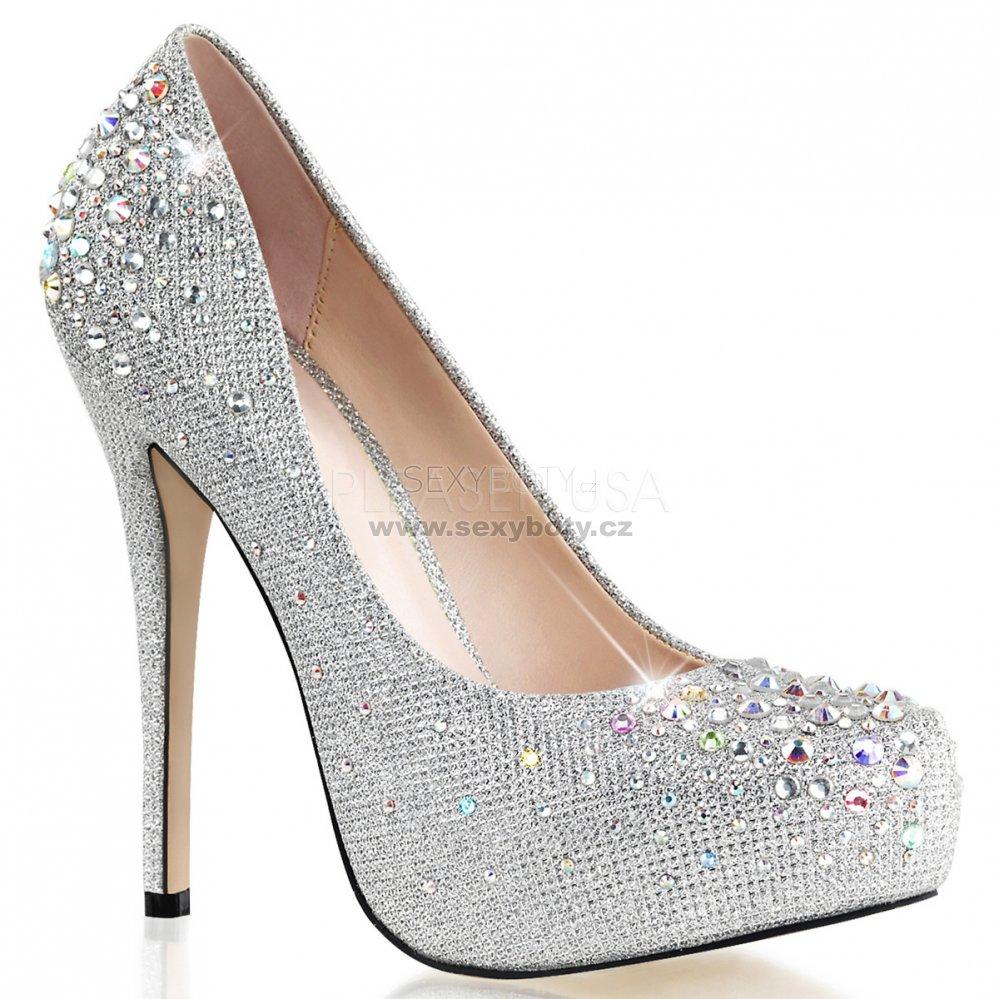 stříbrné luxusní lodičky s kamínky Destiny-06r-sgfa - Velikost 36 ... 66f901700c