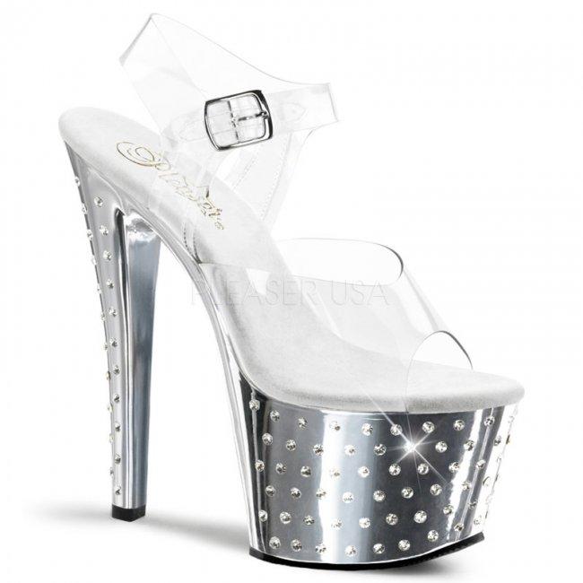 vysoké sandálky s kamínky Stardust-708-csch - Velikost 41