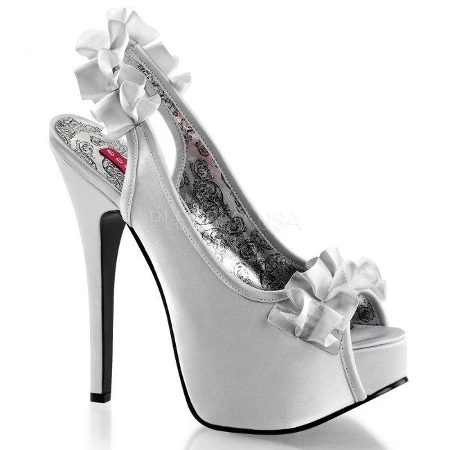 vysoké stříbrné saténové sandálky s mašličkou Teeze-56-ssa - Velikost 40