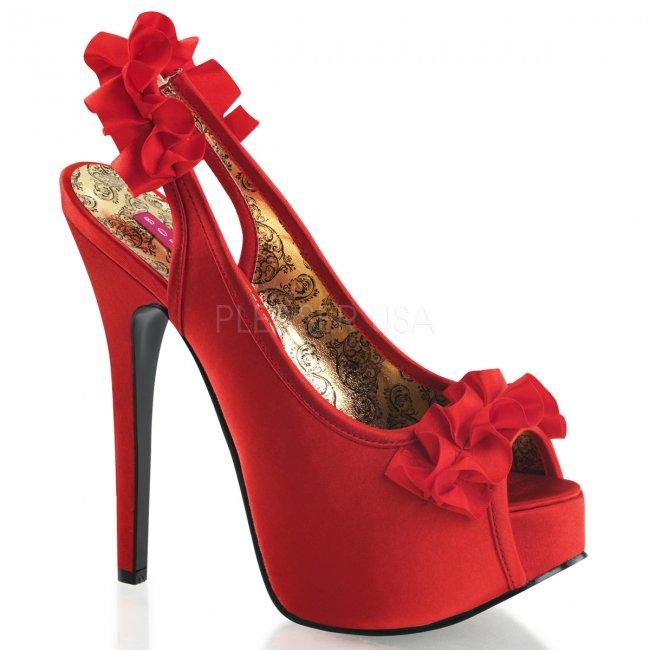 červené vysoké sandálky s mašličkou Teeze-56-rsa - Velikost 37