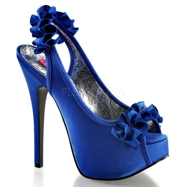 modré vysoké sandálky s mašličkou Teeze-56-nbsa - Velikost 36