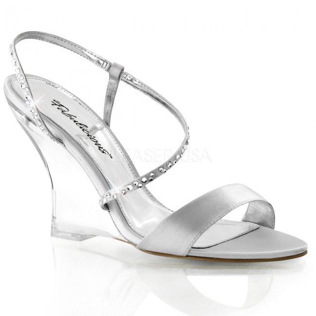 stříbrné sandálky na klínku Lovely-417-ssa-c - Velikost 41