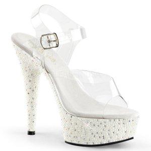 bílé sandálky s kamínky a perličkami Pearlize-608-cw