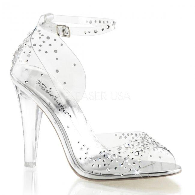 průhledné sandálky s kamínky Clearly-430rs-c - Velikost 37
