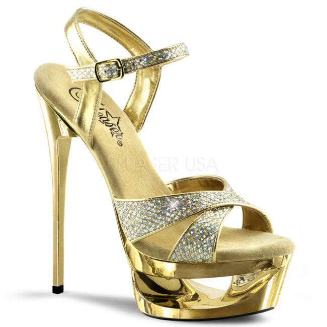 zlaté sandálky na jehlovém podpatku Eclipse-619g-g - Velikost 39