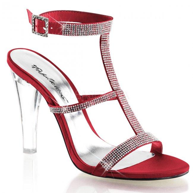 červené dámské sandále Clearly-418-rousa - Velikost 35