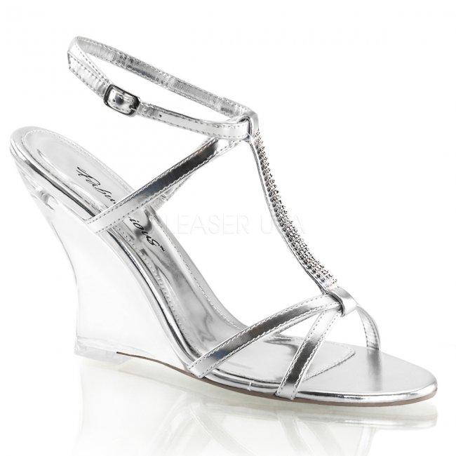 stříbrné sandály na klínku Lovely-428-smpu-c - Velikost 35