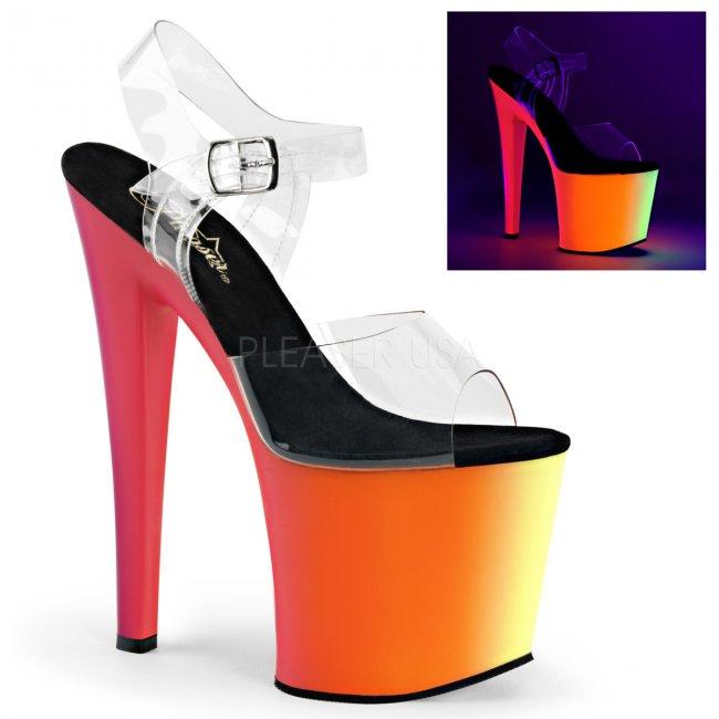 vysoké dámské sandály s UV efektem Rainbow-708uv-cnmc - Velikost 36