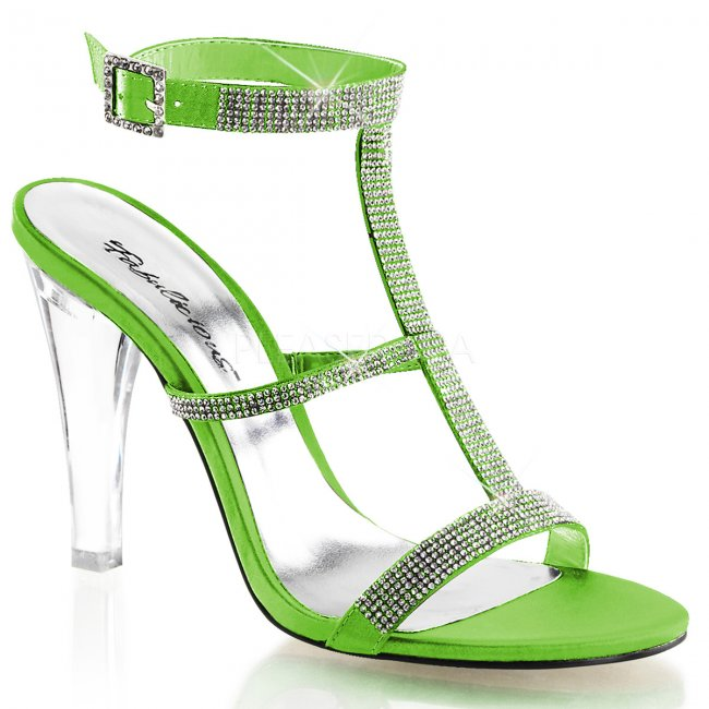 zelené sandály na zapínání Clearly-418-emgnsa - Velikost 38