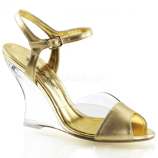 zlaté sandály na klínku Lovely-442-cgmpu-c - Velikost 37