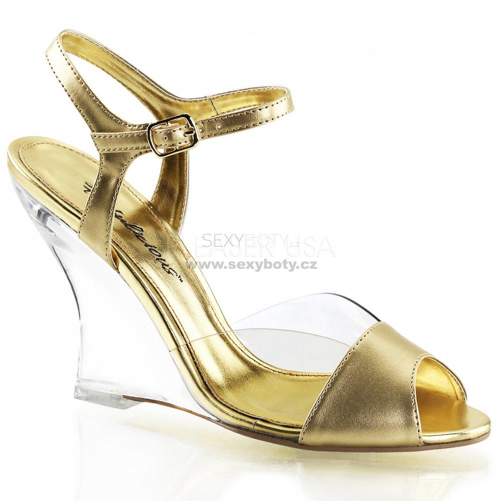 ec0f3f630d75 zlaté sandály na klínku Lovely-442-cgmpu-c - Velikost 38   SEXYBOTY.cz
