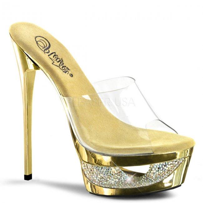 zlaté pantofle na jehlovém podpatku Eclipse-601dm-cgch - Velikost 38