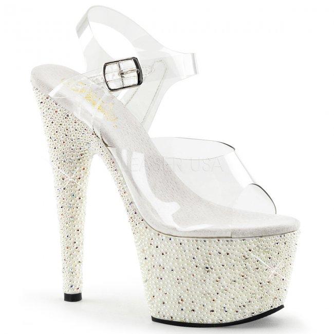 vysoké sandálky s kamínky a perličkami Pearlize-708-cw - Velikost 35