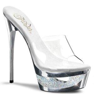 stříbrné pantoflíčky na jehlovém podpatku Eclipse-601dm-csch
