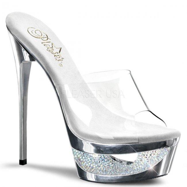 stříbrné pantoflíčky na jehlovém podpatku Eclipse-601dm-csch - Velikost 36