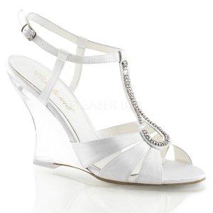 bílé sandálky na klínku Lovely-420-wsa-c