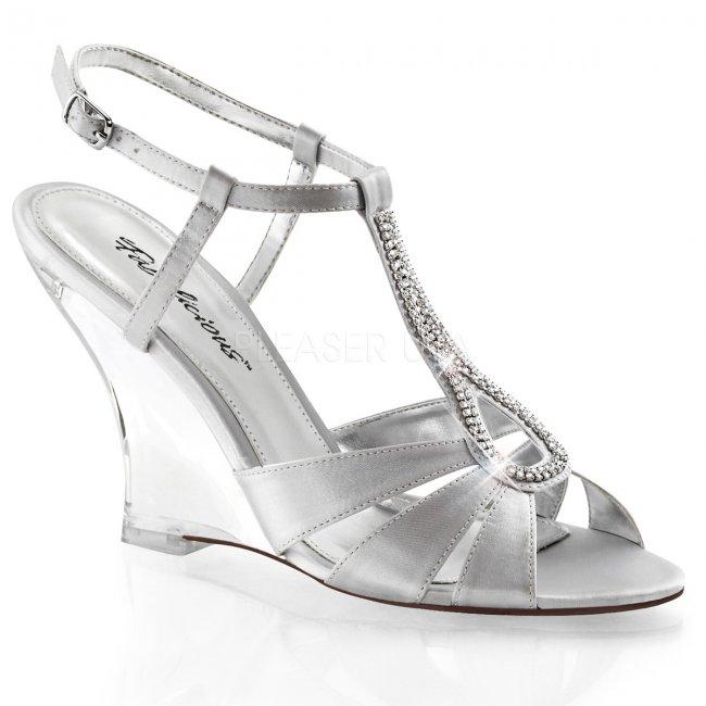 stříbrné sandálky na klínku Lovely-420-ssa-c - Velikost 35