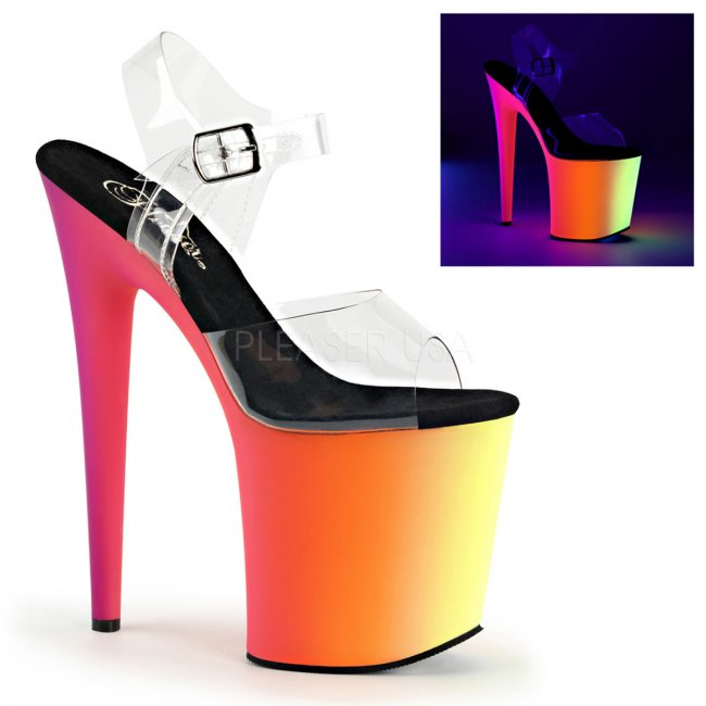 extra vysoké sandály s UV efektem Rainbow-808uv-c - Velikost 37