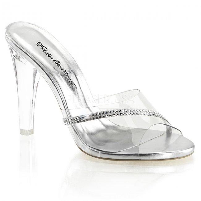 průhledné pantoflíčky s kamínky Clearly-401r-c - Velikost 38