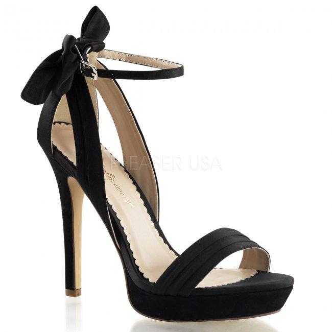 černé saténové sandálky Lumina-25-bsa - Velikost 40