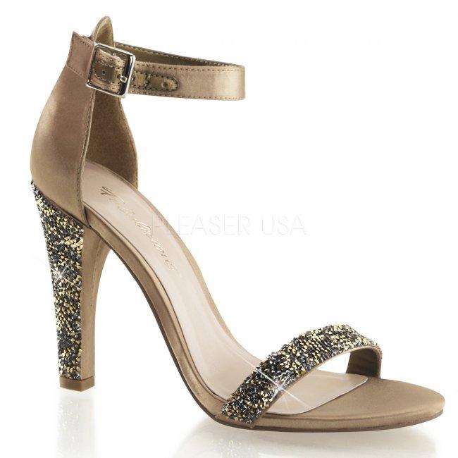 luxusní saténové sandálky Clearly-436-bzsa - Velikost 35