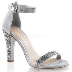 stříbrné luxusní saténové sandálky Clearly-436-ssa