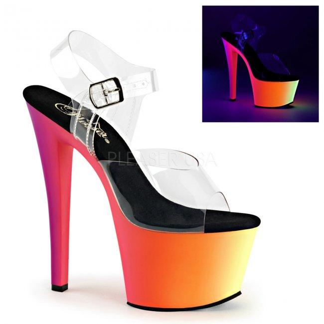 vysoké sandály s UV efektem Rainbow-308uv-c - Velikost 35