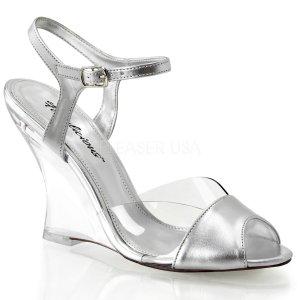 dámské stříbrné sandálky na klínku Lovely-442-csmpu-c