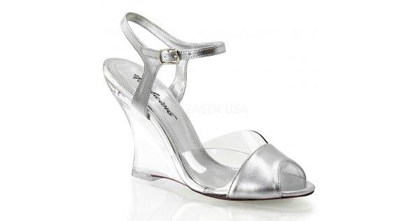 dámské stříbrné sandálky na klínku Lovely-442-csmpu-c - Velikost 36    SEXYBOTY.cz 304d366f25
