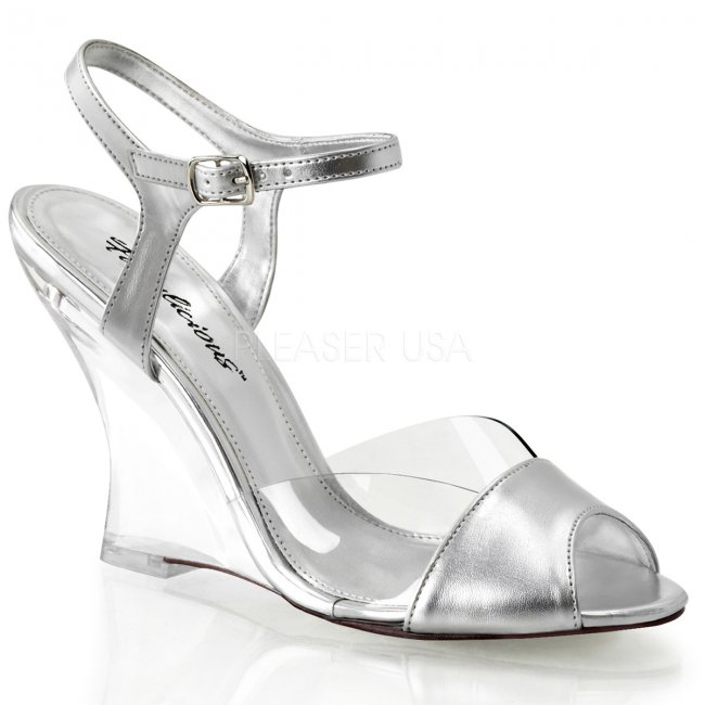 dámské stříbrné sandálky na klínku Lovely-442-csmpu-c - Velikost 36