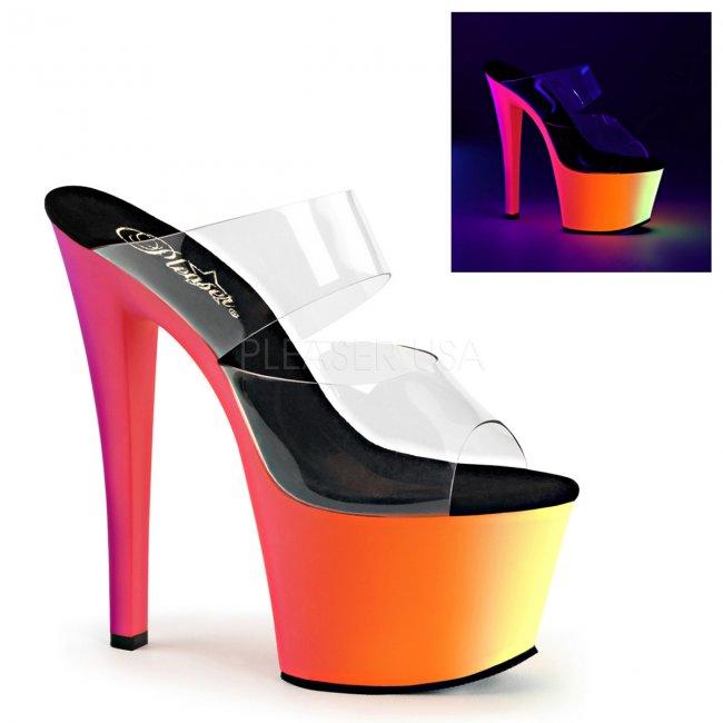 vysoké pantofle s UV efektem Rainbow-302uv-c - Velikost 42
