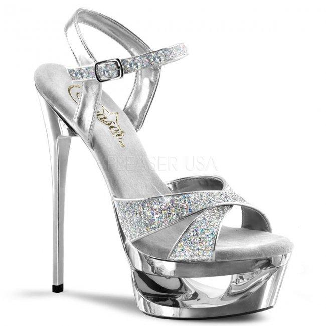 stříbrné sandálky na jehlovém podpatku Eclipse-619g-s - Velikost 38